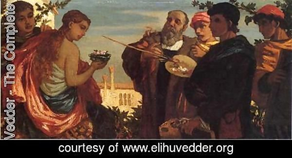 Elihu Vedder - The Artist and Students Before a Model
