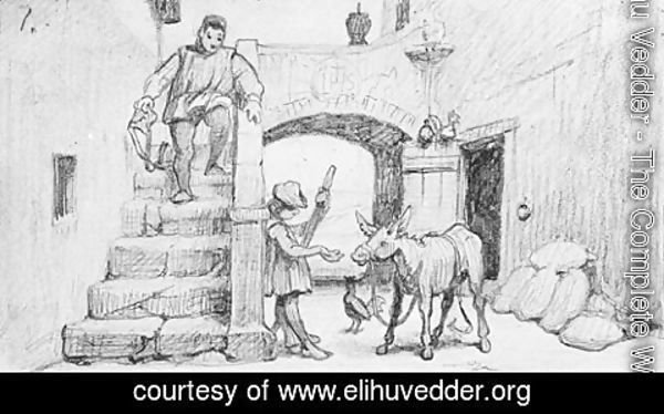 Elihu Vedder - The Fable of the Miller, His Son and the Donkey No. 1