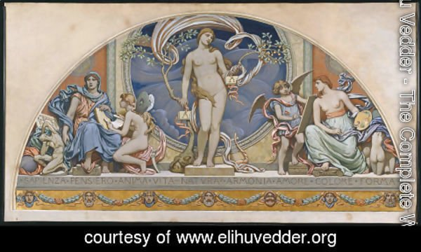 Elihu Vedder - Rome, Representative of the Arts: design for decoration in Bowdoin College, 1894