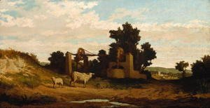 Elihu Vedder - Landscape with Sheep and Old Well, c.1857