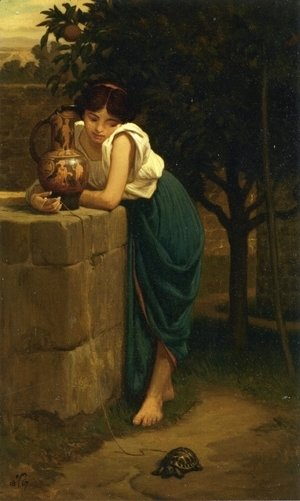 Elihu Vedder - Etruscan Girl with Turtle
