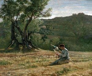 Elihu Vedder - Peasant Girl Spinning
