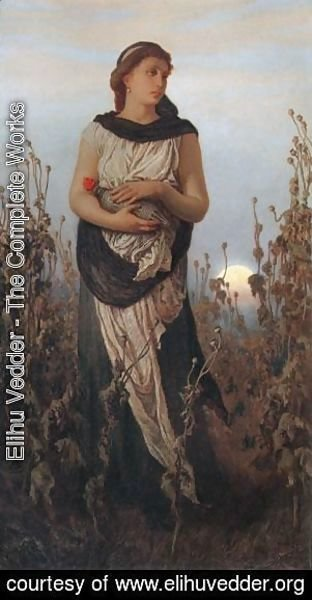 Elihu Vedder - Girl with Poppies
