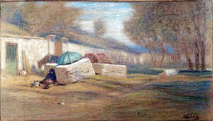 Elihu Vedder - Roadside figure and Umbrella