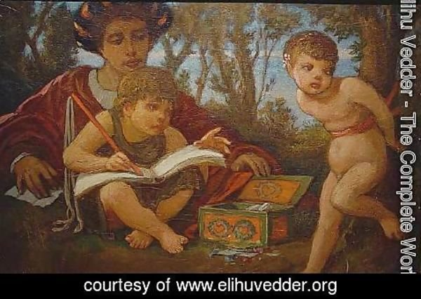 Elihu Vedder - The Artist's Lesson or Captive Cupid