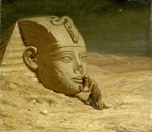 Elihu Vedder - Listening to the Sphinx (1863)