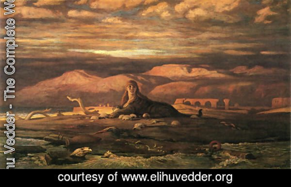 Elihu Vedder - The Sphinx of the Seashore (1879-80)