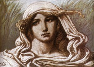 Elihu Vedder - Head of a Young Woman 1898